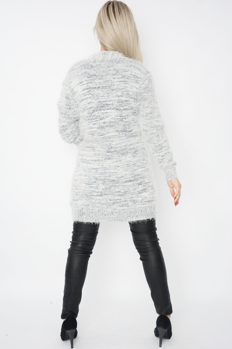 White Eyelash Fluffy Soft Knit Longline Cardigan