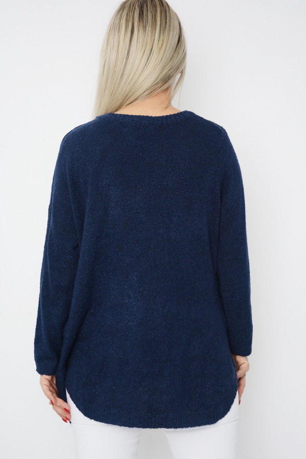 Navy Soft Knit Curved Hem Jumper