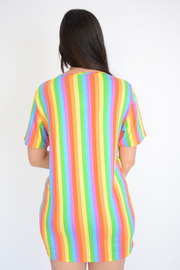 Rainbow Stripe T-Shirt Dress