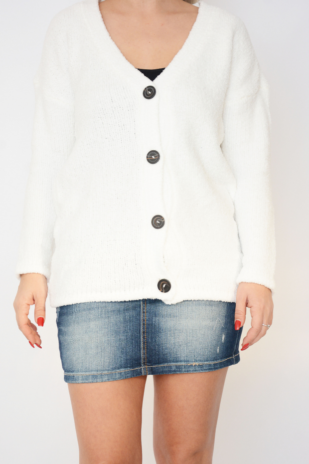 White Soft Fluffy Knit Button Cardigan