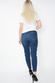 Blue Straight Leg Mid Rise Cropped Jeans