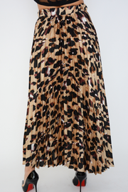 Brown Animal Print Satin Pleated Midi Skirt