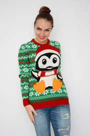 Green Penguin Logo Knit Christmas Jumper