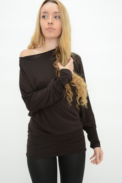 Brown Longline Jersey Casual Top