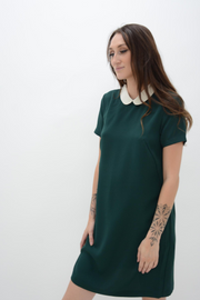 French Connection Green Crepe Peter Pan Collar Tunic Dress