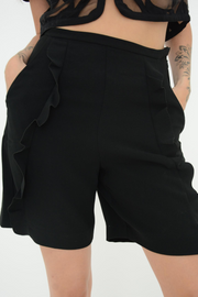 French Connection Black Aro Crepe Frill Shorts