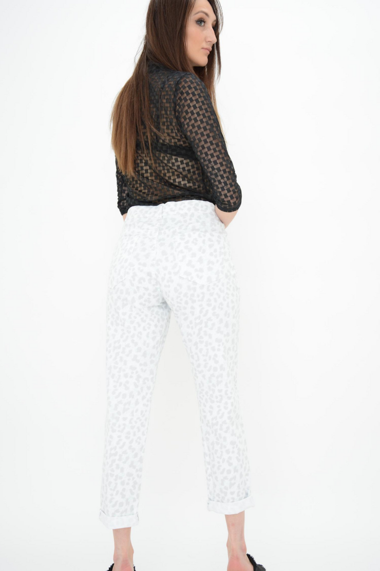 French Connection White Leopard Print Straight Leg Stretchy Jeans