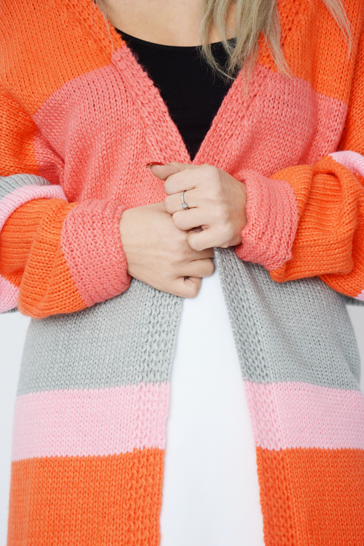 Orange Colour Block Chunky Knit Cardigan