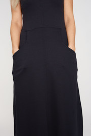 French Connection Navy Midi Flared Dress