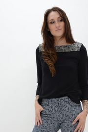 French Connection Black Crystal Embellished Tunic Top