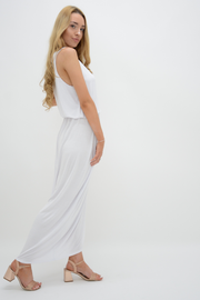 White Racer Back Jersey Maxi Dress