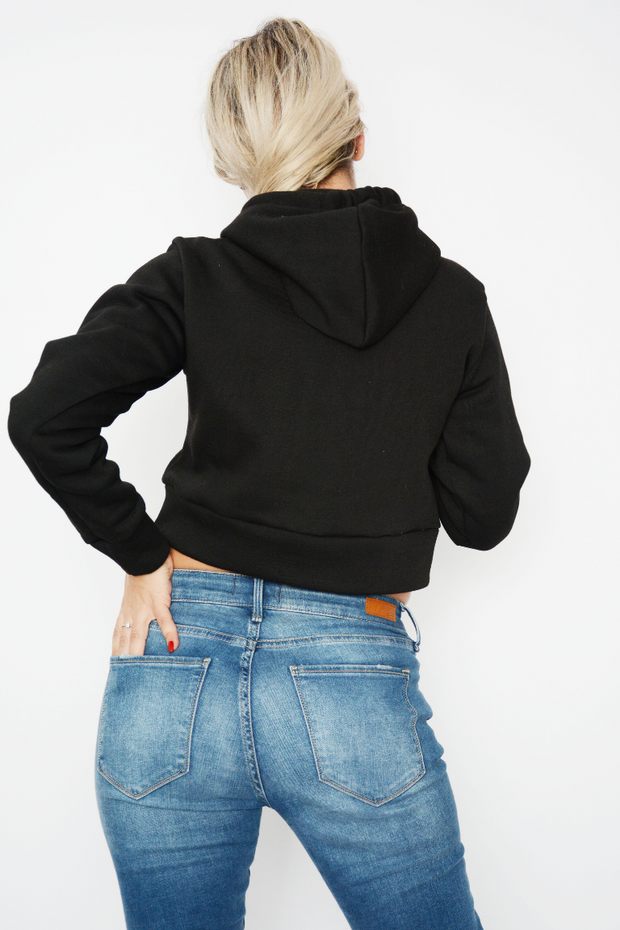 Black Jersey Cropped Hoodie Sweater