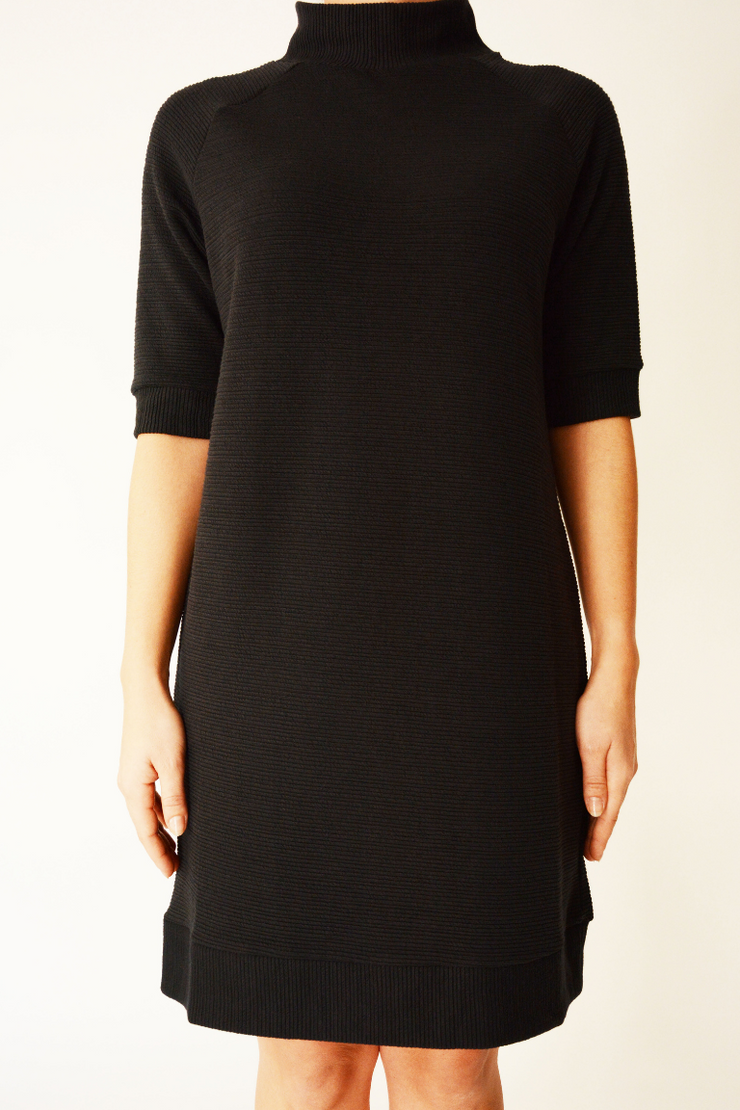 French Connection Black Ribbed Jumper Dress