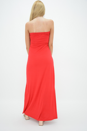 Red Bow Bandeau Jersey Maxi Dress