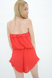 Red Frill Bandeau Causal Playsuit