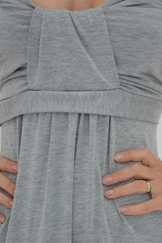 Grey Bow Bandeau Jersey Maxi Dress