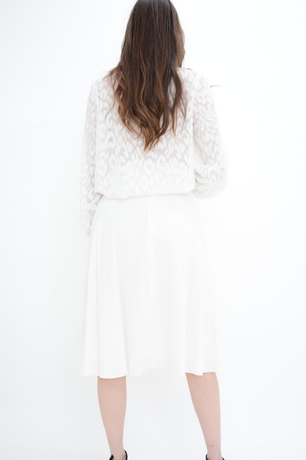 FRENCH CONNECTION WHITE CREPE FLARED MIDI SKIRT