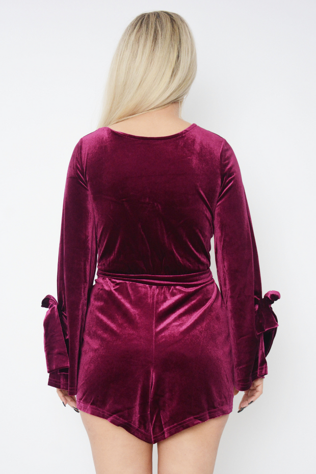 Purple Cut Out Bell Sleeve Velvet Playsuit