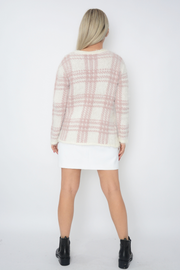 Pink Grid Design Fluffy Soft Knit Cardigan