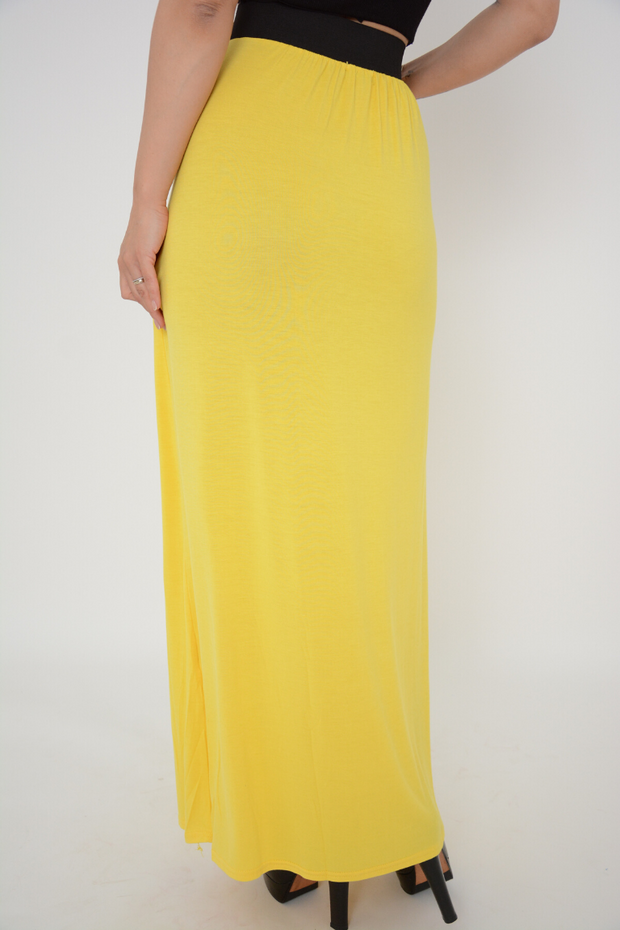 Yellow Jersey Maxi Skirt