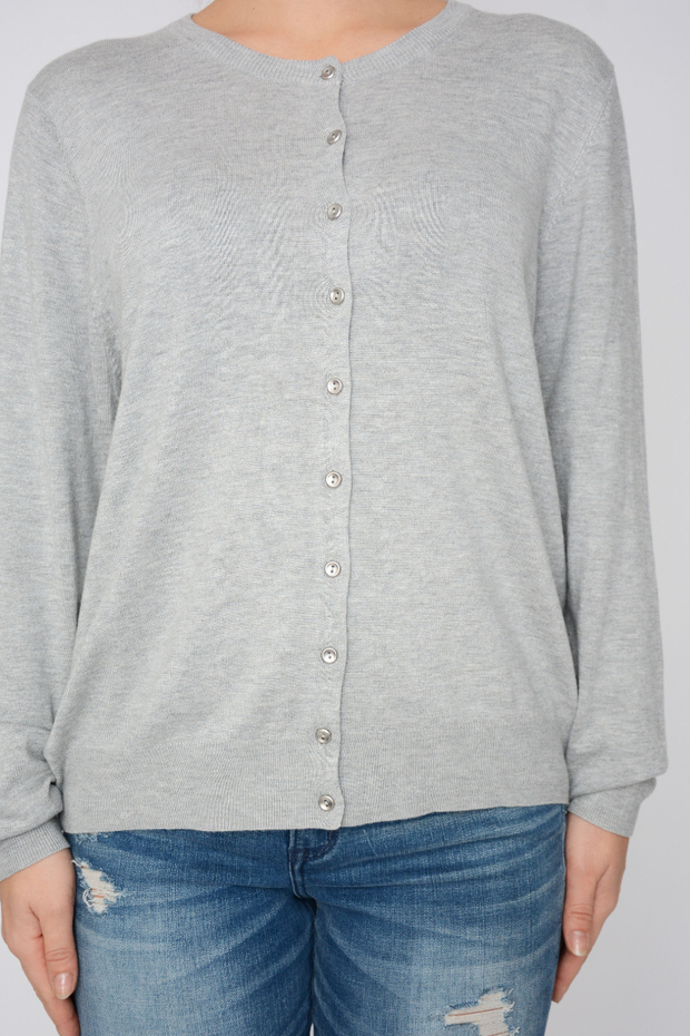 Grey Fine Knit Soft Button Lightweight Cardigan