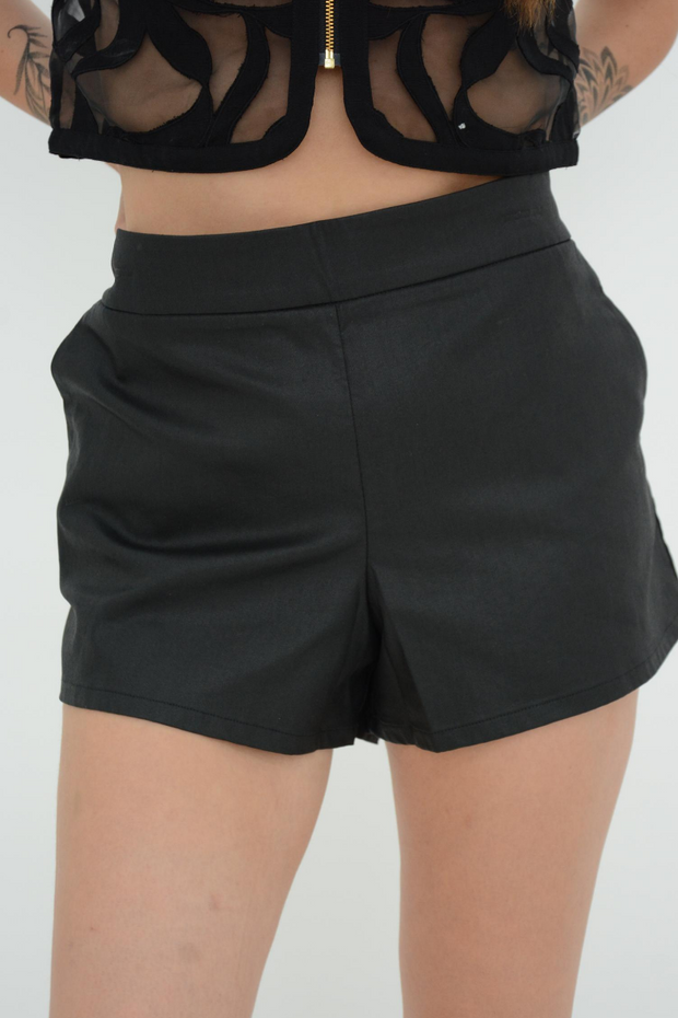 French Connection Black Judy Jegs Coated Shorts