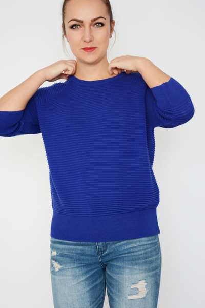 French Connection Blue Ribbed Knit Jumper