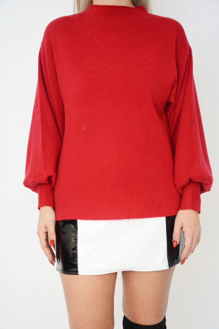 Red Soft Knit Bell Sleeve Jumper