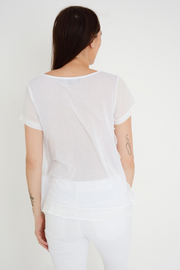 French Connection White Polly Frill Side Top