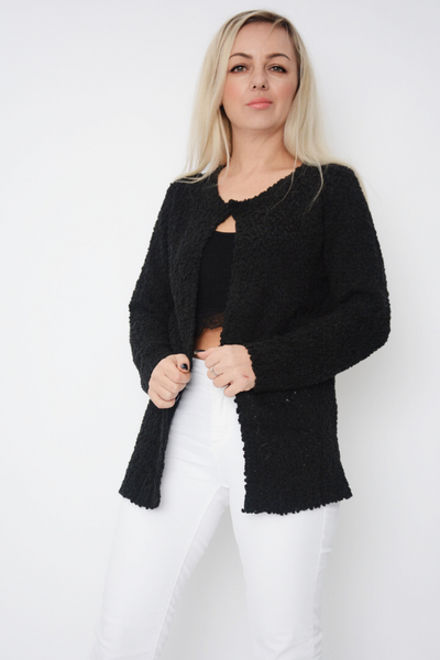 Black Bobble Soft Knit Cardigan