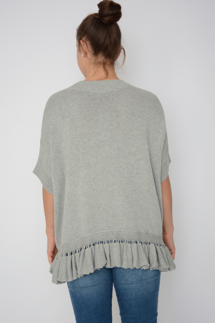 French Connection Grey Frill Hem Chunky Knit Jumper
