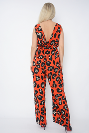 Red Leopard Print Tie Up Waist Jumpsuit