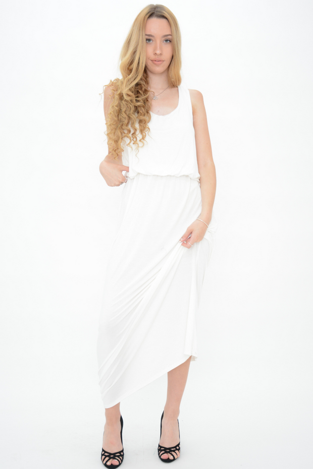 Cream Jersey Racer Back Maxi Dress
