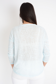 Light Blue Hello Logo Knit Top