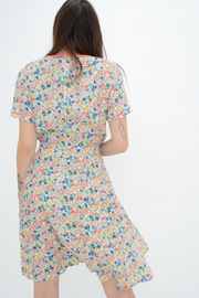 French Connection Pink Floral Crepe Fit & Flared Dress