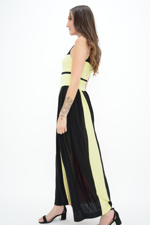 French Connection Multi Colour Block Stripe Jersey Maxi Dress
