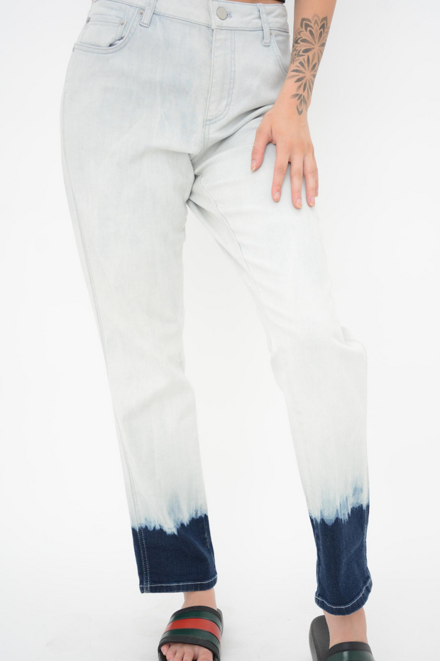 French Connection Bleach Tie Dye Hem Straight Leg Jeans