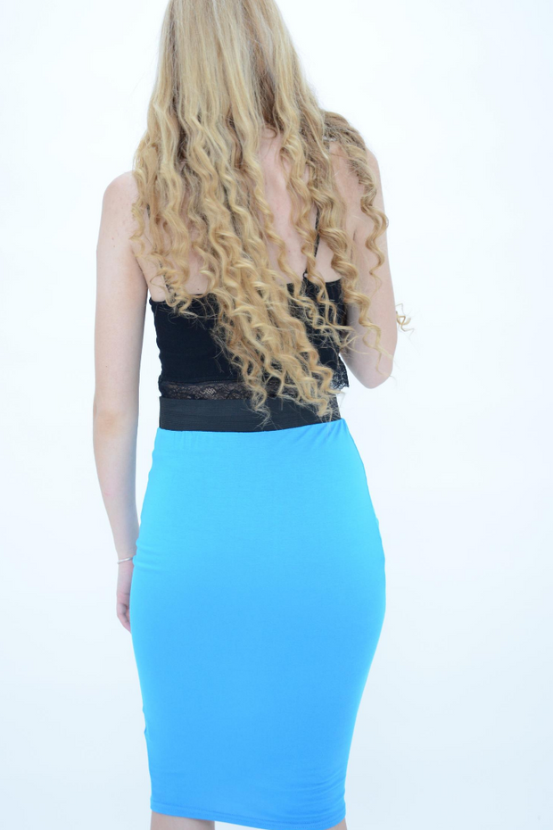 Turquoise Jersey Pencil Skirt
