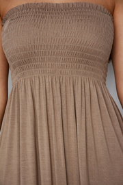Cappuccino Shirred Jersey Bandeau Maxi Dress