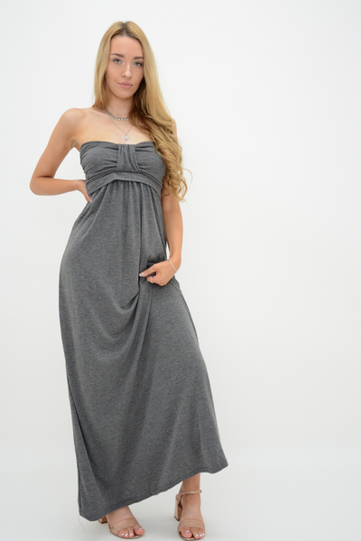 Dark Grey Front Bow Bandeau Jersey Maxi Dress