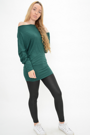 Forest Green Jersey Longline Casual Top