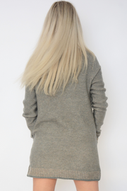 Sage Green Pocket Open Knitted Cardigan