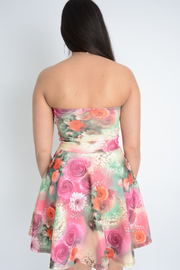 Pink Floral Sweetheart Scuba Fit & Flared Dress