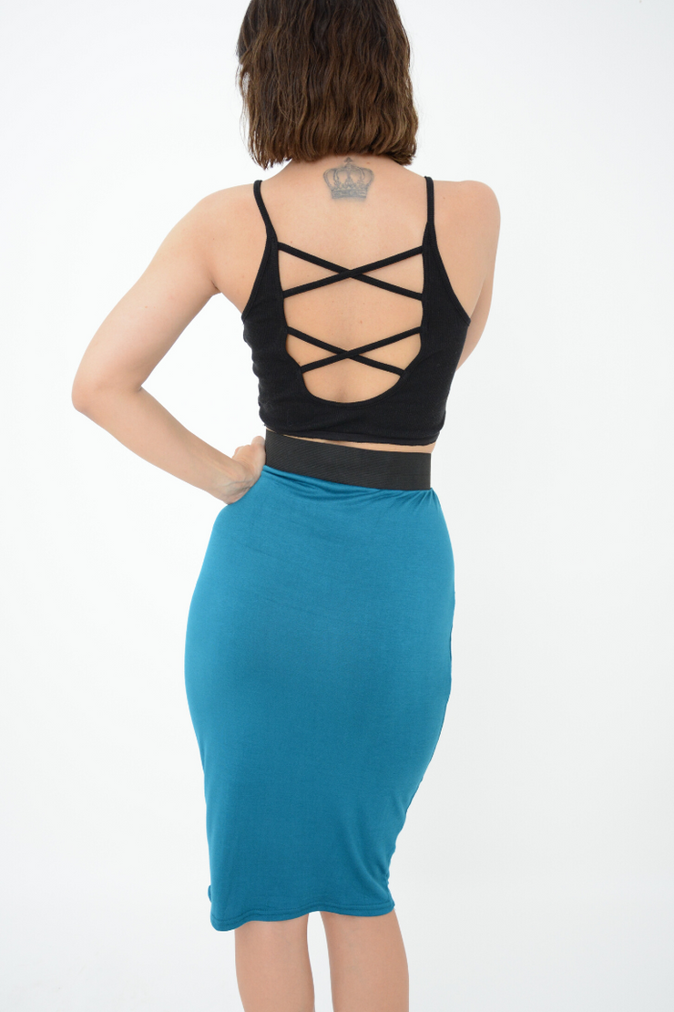 Teal Fitted Jersey Pencil Skirt