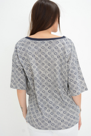 French Connection Navy Tile Print Casual T-shirt