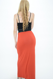 Rust Jersey Long Maxi Skirt