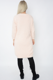 Pink Eyelash Soft Fluffy Knit Jumper Dress