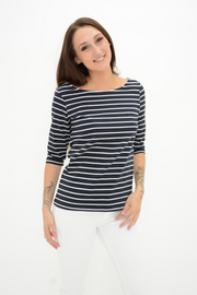 FRENCH CONNECTION BLACK STRIPE JERSEY TOP