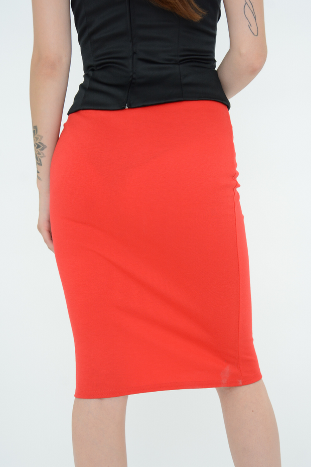 Red Fitted Pencil Knee Length Skirt