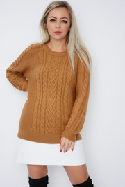 Camel Cable Knit Jumper